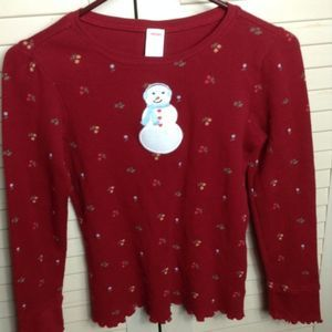 GYMBOREE Snowman Holiday Christmas Top Waffle 12